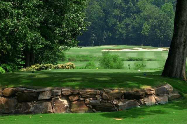 A view of a tee at South from Raintree Country Club