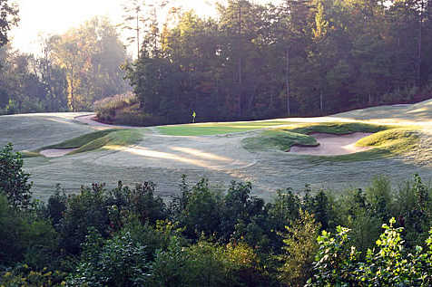 A view of a green protected by bunkers at Springfield Golf Club
