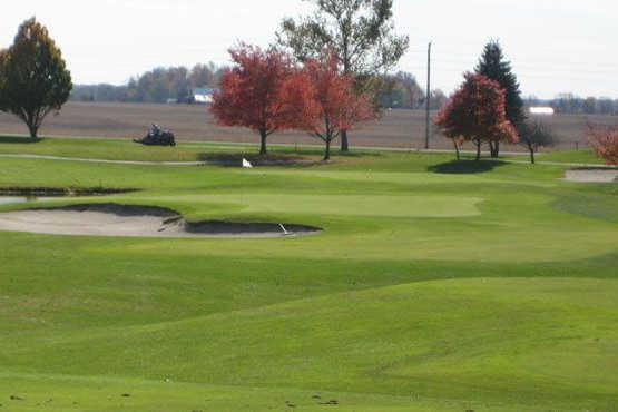 A view of a hole protected by bunkers at Honeywell Golf Course