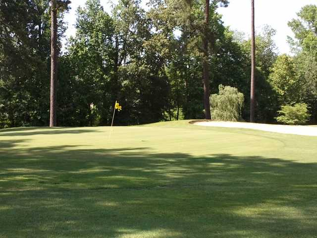 A view of a green guarded by a bunker at Green Hill Country Club