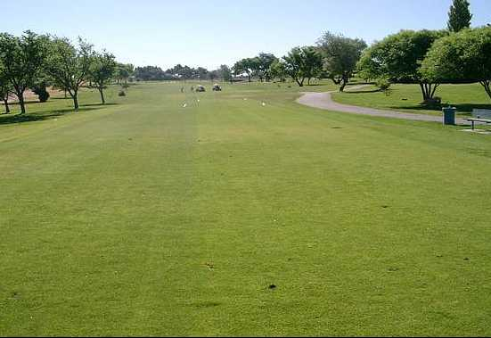 A view of a tee at Puerto Del Sol Golf Course.