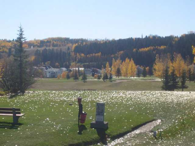 A view of a tee at Cochrane Golf Club