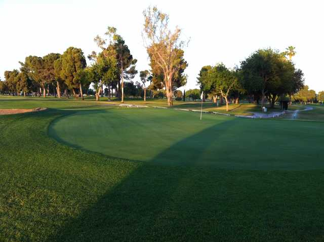 A view of a green at James C. Haggerty North Kern Golf Course