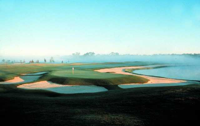 A view of a hole protected by tricky bunkers at English Turn Golf & Country Club