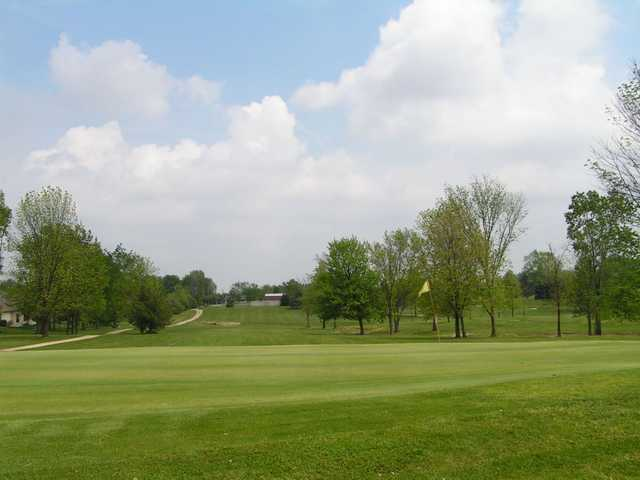A view of a hole with a narrow path on the left side at Timberview Golf Club