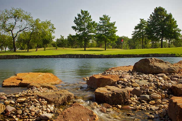 A view over the water from Red Course at Prairie Lakes Golf Course