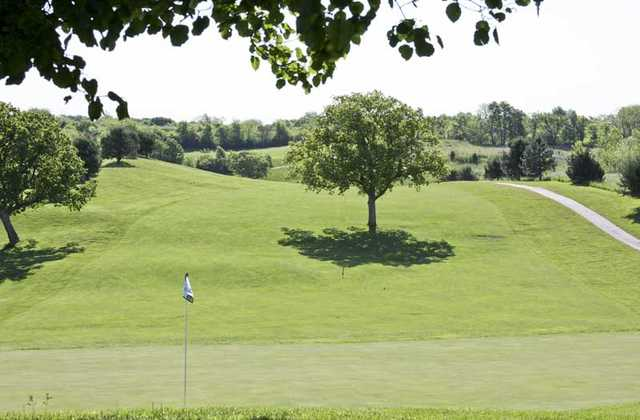 A view of a green at Shiloh Springs Golf Club
