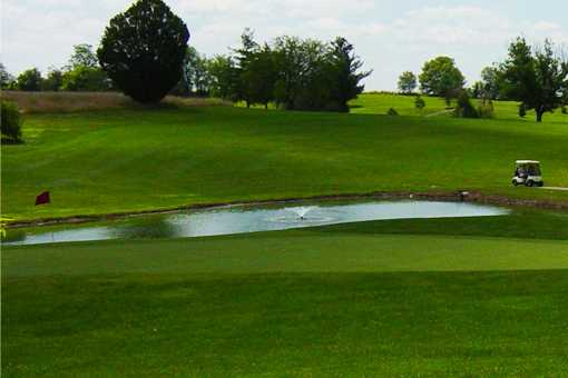 A view of a hole with water coming into play at Henry County Country Club