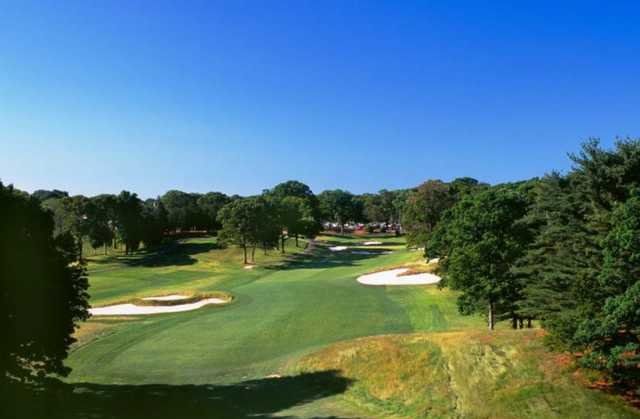 A view of the 18th fairway at Red from Bethpage State Park Golf Course