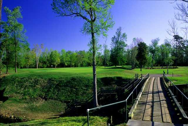 Waterway Hills Ravine No. 3 features a wood bridge over a gully.