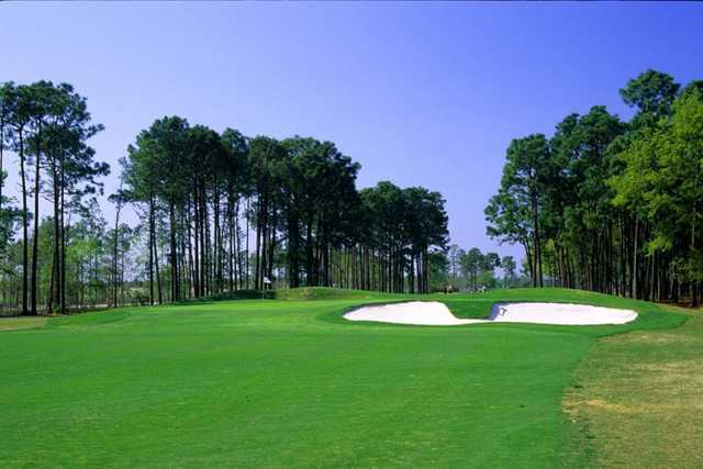 Waterway Hills Golf Club: Trent Jones' distinctive bunkering is all over Waterway Oaks - view from Oaks' #4
