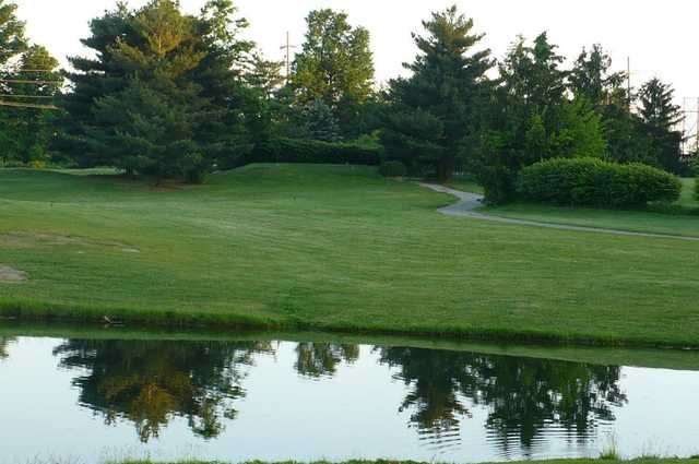A view over the water from Buttermilk Falls Golf Course