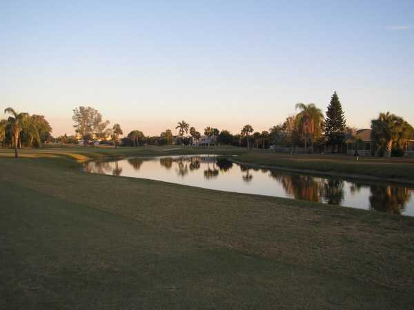 A view over the water from Hunters Run Golf Course