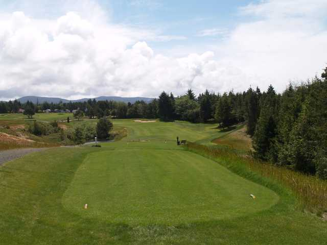 A view from a tee with a narrow path on the left side at Crestview Golf Club