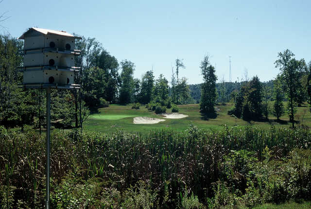 A view of a hole protected by bunkers at Cherry Wood Golf Course