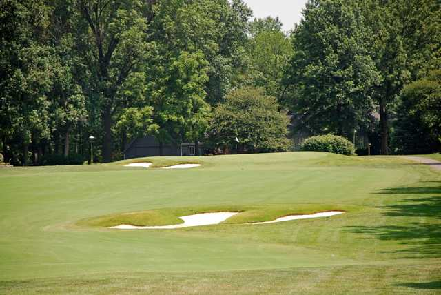 A view of a hole protected by bunkers at Elk Run Golf Club