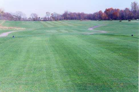 A fall view from a tee at Etna Acres Golf Club