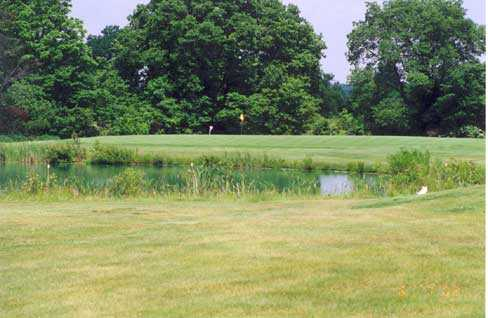 A view over a pond at Etna Acres Golf Club