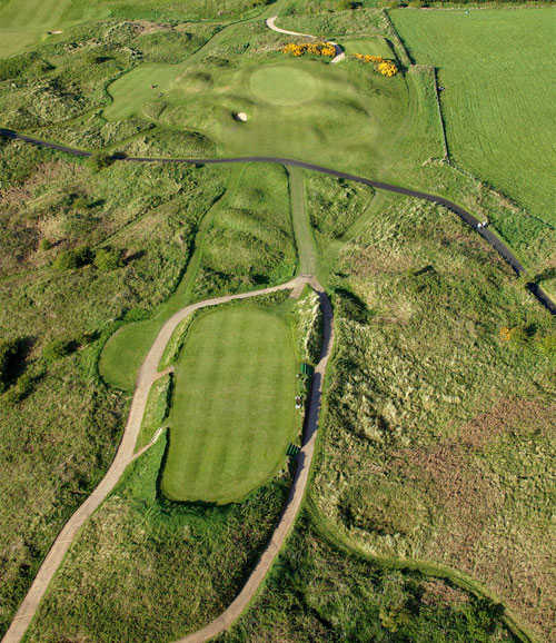 Aerial view of hole #3 at Dunluce Course from Royal Portrush Golf Club