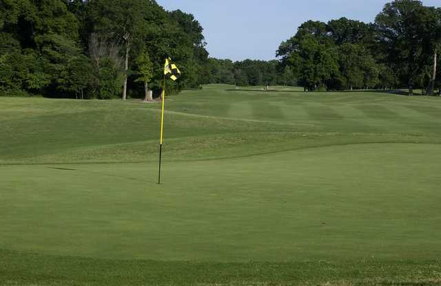 A view of a green at Twin Creeks Golf Course