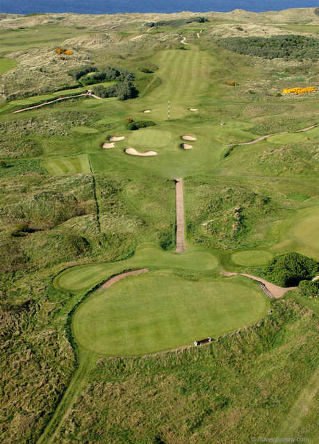 Aerial view of hole #11 at Dunluce Course from Royal Portrush Golf Club