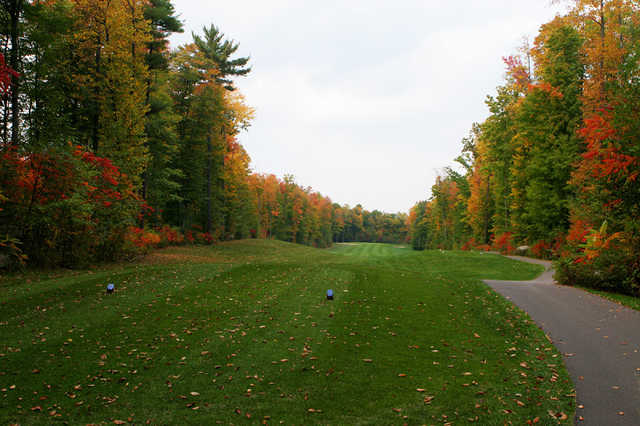 A fall view from a tee at Pine Hills Golf Course