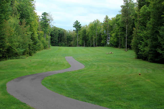A view from a tee with a cart path on the left side at Pine Hills Golf Course