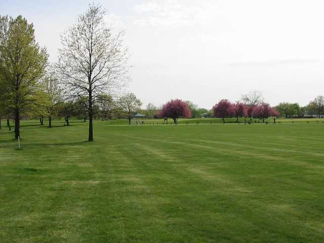 A view of the driving range tees at Deer Creek Golf Club
