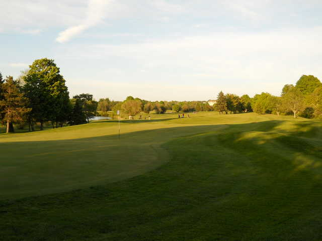 A sunny day view of a hole at Truro Golf Club.