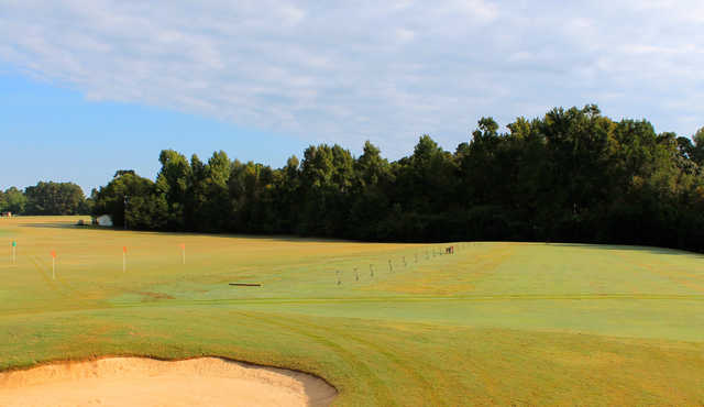 A view of the driving range tees at Keith Hills Golf Club