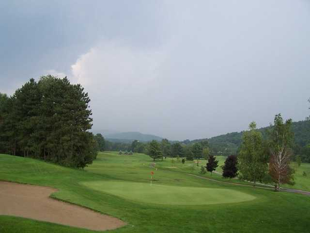 A view of a green with a narrow path on the right side at Newport Golf Club