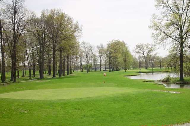 A view of a hole with water coming into play at Eagles Nest Golf Course