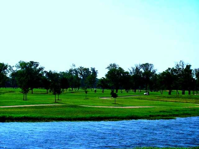 A view of hole #9 from fairway #10 at Pecan Lakes Golf Course