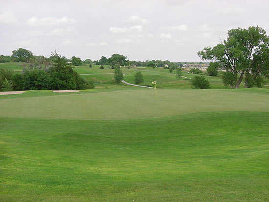 A view of green #17 at Meadowlark Hills Golf Course
