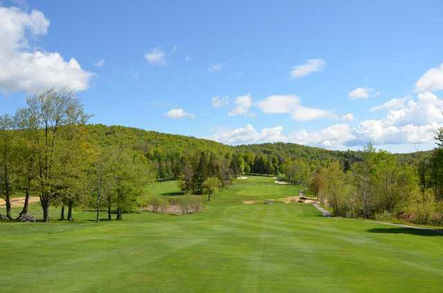 A view from a fairway at Stratton Mountain Country Club