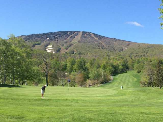 A view of a hole at Stratton Mountain Country Club