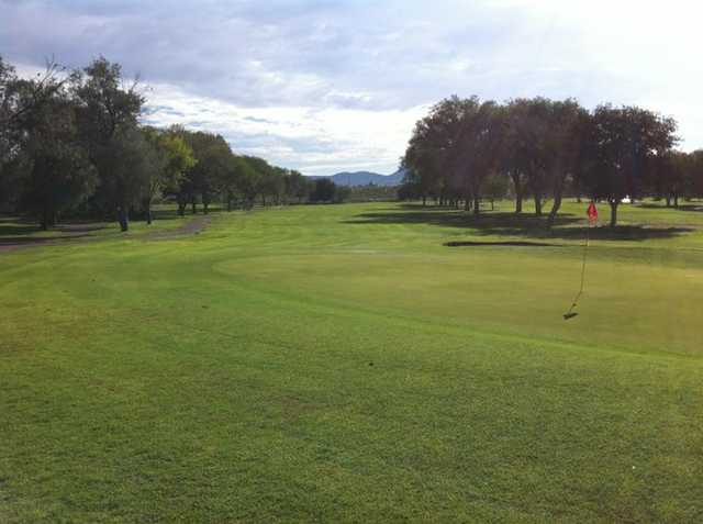 A view of the 13th hole at Dos Lagos Golf Club