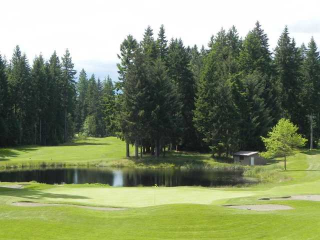 A view of a green with water coming into play at Storey Creek Golf Club