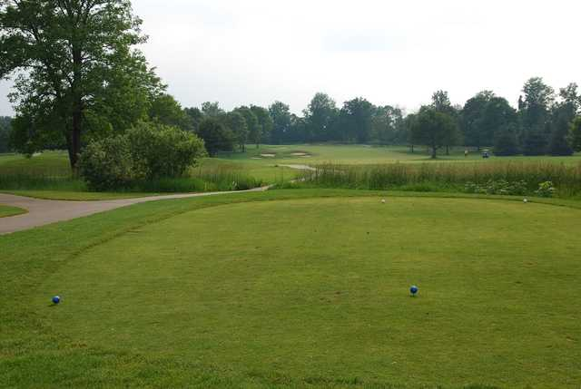 A view from a tee at Hidden Lake Golf Club