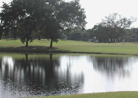Water comes into play on many holes at Championship Golf Course from Boca Raton