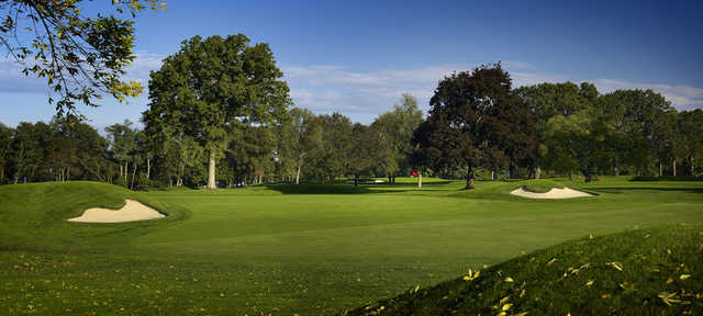 A view of hole #1 at Wannamoisett Country Club.