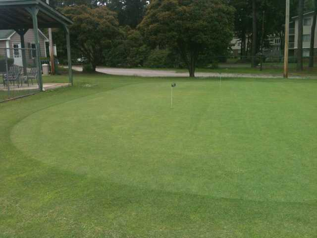 A view of the practice putting green at Riverside Golf & Recreation Center