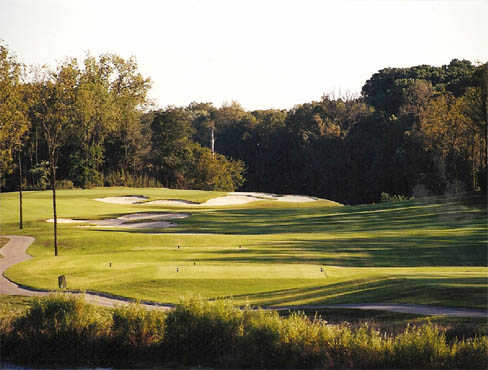 A view of tee #4 at President's Reserve from Hermitage Golf Course.