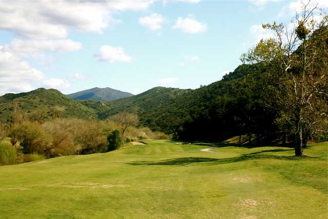 The par-4 5th hole on the Oak Glen course from Singing Hills Golf Resort at Sycuan narrows as it approaches the green.