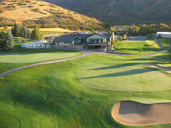 A view of a green protected by large bunkers at Wasatch Mountain State Park