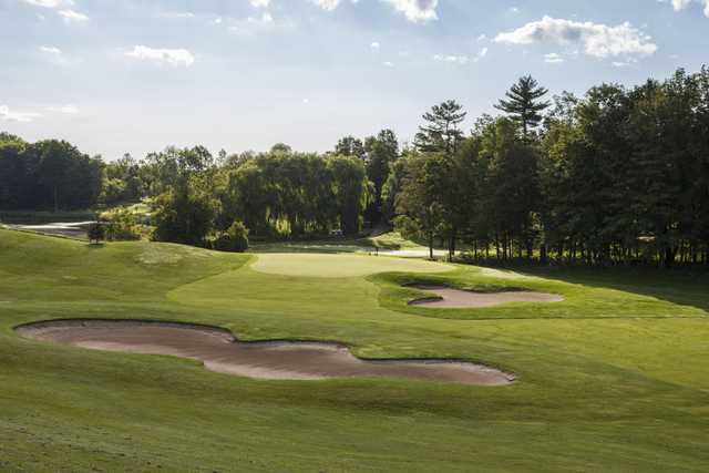 A view of a hole protected by tricky bunkers at Nobleton Lakes Golf Club