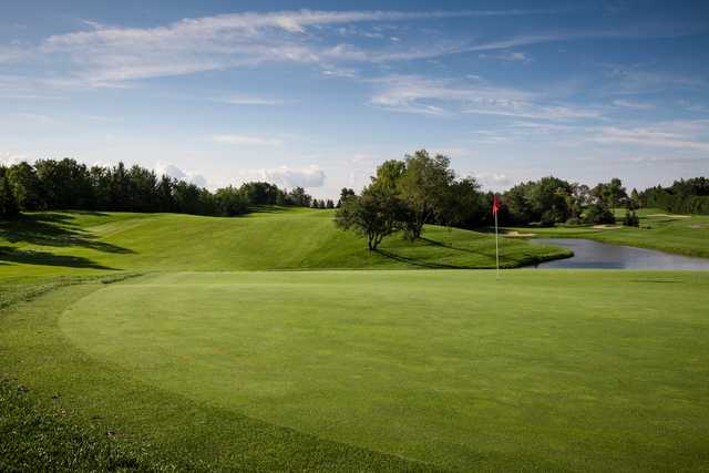 A view of a green with water coming into play at Nobleton Lakes Golf Club