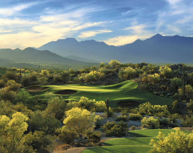 A view of the signature hole #17 at Golf Club of Estrella ( ©2000 Lonna Tucker )