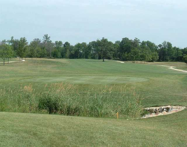 A view of a tee at Timber Pointe Golf Club