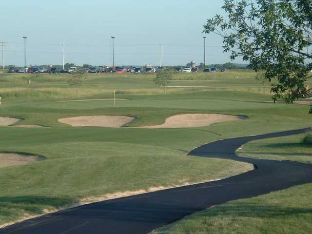 A view of a hole protected by a collection of tricky bunkers at Timber Pointe Golf Club